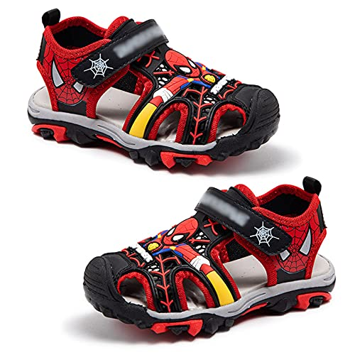 MYYLY Shandals Enfant Spiderman Super-héros Sport Sandale Avenger Chaussures De Plage Été Piscine Sandales Mode Antidérapant Baskets Imperméables,Red-28 Yards~Inner Length 17.3CM
