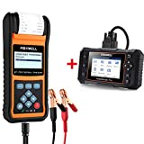FOXWELL Car Battery Load Tester for 12V 24V Auto Batteries BT780 Analyzer with Built-in Printer with Foxwell NT624 Elite Car Scanner