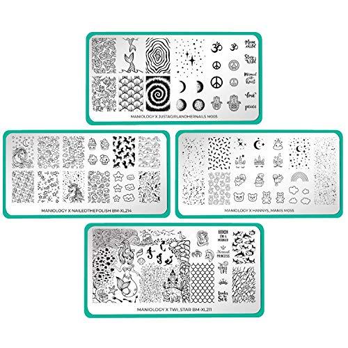 Maniology Artist Collaboration Mythical Creatures Creative Nail Art Stamping Plates (Hannys_Manis (m055), nailedthepolish (BM-XL214), justagirlandhernails (M005), twi_star (BM-XL211), Set of 4)