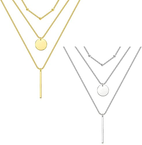 2021 2PCS Layered Necklaces for Women ,Handmade 14K Gold Plated Y Pendant Necklace Multilayer Bar Disc Necklace Adjustable Layering Choker outlet online sale high quality Necklaces for Women (Gold,Silver) outlet sale