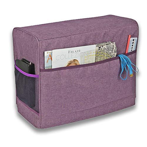 Boyigog Bolso para Máquina de Coser,Cubierta protectora para máquina de coser con bolsillos de almacenamiento para máquina de coser y accesorios adicionales, 17x7.5x13inch (Púrpura)