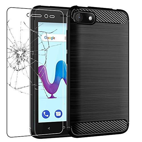 ebestStar - kompatibel Wiko Sunny 3 Hülle Sunny3 Kohlenstoff Design Schutzhülle, TPU Handyhülle Flex Silikon Case, Schwarz + Panzerglas Schutzfolie [Phone: 146.7 x 74 x 9.95mm, 5.0'']