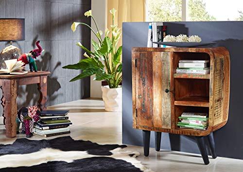 MASSIVMOEBEL24.DE Altholz Kommode aus Massivholz im Vintage Look, Mehrfarbig lackiert, 70x44x90, Sixties Serie #103