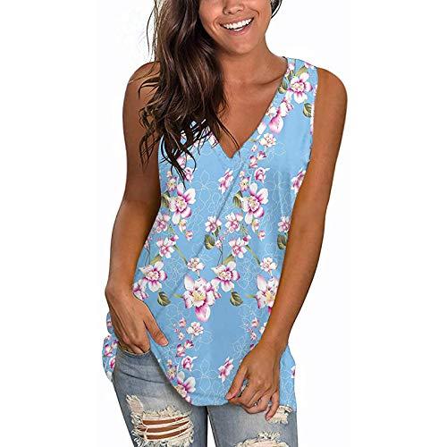 Blusa sin mangas con cuello en V para mujer, estilo casual, con división lateral, cómoda y holgada, para verano