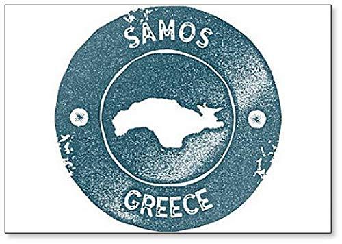 Samos Map Vintage Retro Style Illustratie Koelkast Magneet