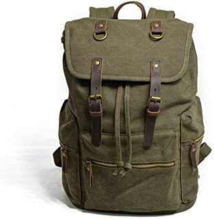 Lxy Mens Backpack Large Canvas Travel Duffel Bag Custom Waterproof Canvas Laptop Backpack Fashion Trend wk (Color : Green, Size : 28cm*15cm*43cm)