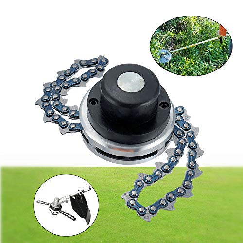 Ineedtech 65Mn Trimmer Head with Coil Chain for Medium Size Garden Lawn Grass Trimmer, Brush Cutter, Weed Eater, Chain Mower, Outdoor Power Tools Replacement Part Accessory