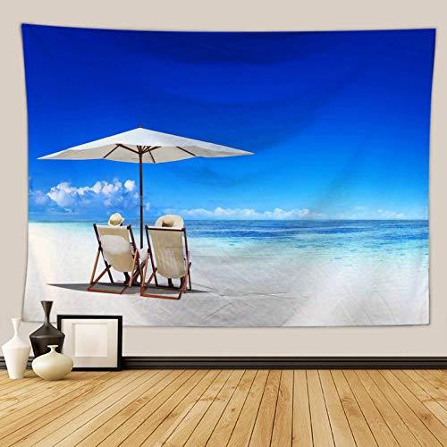 Daesar Tapicería Tela Poliéster Silla de Playa y Cielo Azul Azul Blanco Tapiz Pared 230x150CM