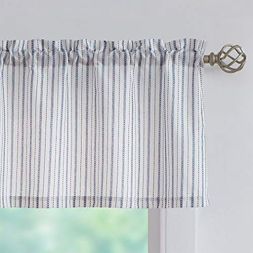SXZJTEX Blue White Rustic Valance Striped Semi Sheer Textured Decorative Curtains Pinstripe Rod Pocket Window Valances for Living Room & Bedroom, Kitchen, Patio, 54 x 15