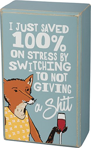 By Kathy Ich sparte nur 100% auf Stress durch ein Scheiß-Box Zeichen mit Fuchs geben und Wein Blau
