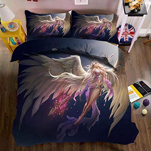 WGLG Double Bedding Duvet Set, 3D Print Butterfly Elf Luxury Home Textiles Duvet Cover And Pillowcase 3Pcs Linens Bedclothes
