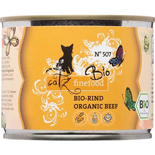 catz finefood Bio Katzenfutter Rind - N° 507 - Nassfutter für Katzen - 6 x 200 g - Ohne Getreide & zugesetzten Zucker (1,2 kg)