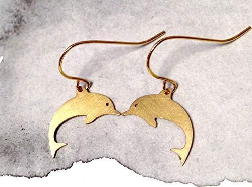 Kleine vergoldete Handmade 90er Jahre Delfin Lasercut Ohrringe