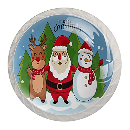 Manijas de armario de cristal con diseño de Papá Noel con reno, diseño de muñeco de nieve y árbol de Navidad, aspecto blanco, 4 piezas de 35 mm para armarios de cocina, aparadores, armarios y armarios