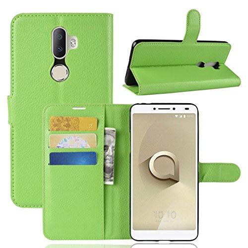 LMFULM® Hülle für Alcatel 3V 5099D (6 Zoll) PU Leder Magnet Brieftasche Lederhülle Litschi Muster Standfunktion Ledertasche Flip Cover für Alcatel 3V Grün