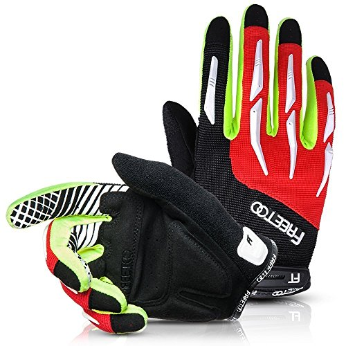 FREETOO Cycling Gloves Summer Lightweight Touchscreen Mountain Bike Gloves Full Finger Gel Padded for Women Men