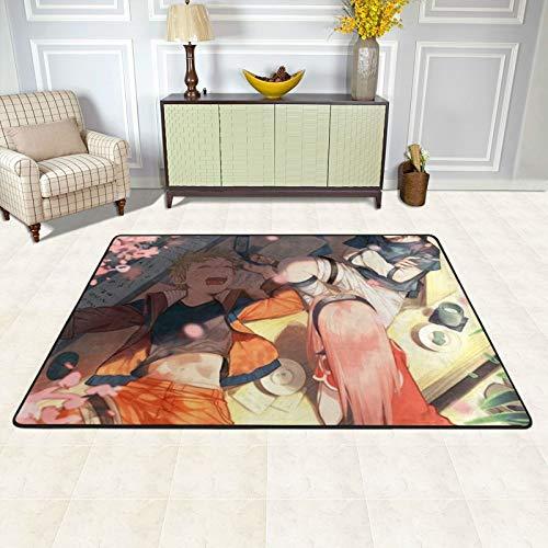 dgdgdg Alfombra de anime Naruto Sasuke adecuada para sala de estar, dormitorio, área de niños, suave y cómoda, decoración de casa de arte, 91,4 x 60,9 cm