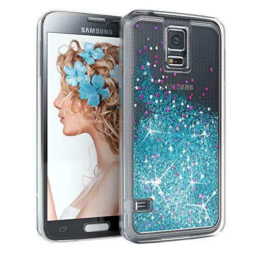 EAZY CASE Hülle kompatibel mit Samsung Galaxy S5/LTE+/Duos/Neo Schutzhülle mit Flüssig-Glitzer, Handyhülle, Schutzhülle, Back Cover mit Glitter Flüssigkeit, aus Silikon, Transparent/Durchsichtig, Blau
