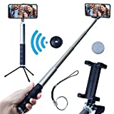 Grimolo Selfie Stick Tripod with Bluetooth Remote - Compatible with iPhone X/8/8P/7/7P/6s/6P, Plus Android Samsung Galaxy S7, S8, S9 Plus Edge -Compact,Extendable Selfie Stick Monopod - Gray