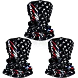 3 Packs American Flag Face Bandana Seamless Outdoor for Hiking Ski...