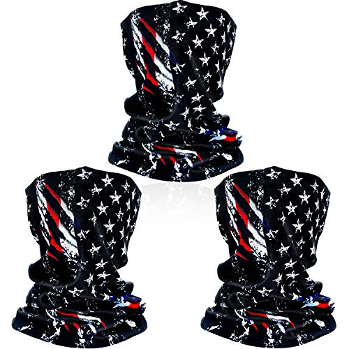 SATINIOR 3 Pack American Flag Face Mask Seamless Outdoor Microfiber Motorcycle Face Mask Outdoor Mask for Sport Headwear Hiking Cycling Ski Snowboard (American Flag)
