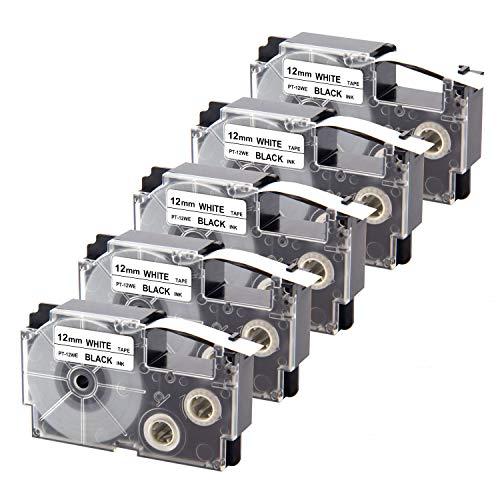 UniPlus 5x 12mm XR-12WE XR12WE Nastri per Etichette Ez-Label Compatibile per Casio KL-60 KL-120 KL-820 KL-60SR KL-70e KL-100e 100 KL-200 200E KL-300 .12mm x 8m,Nero su Bianco