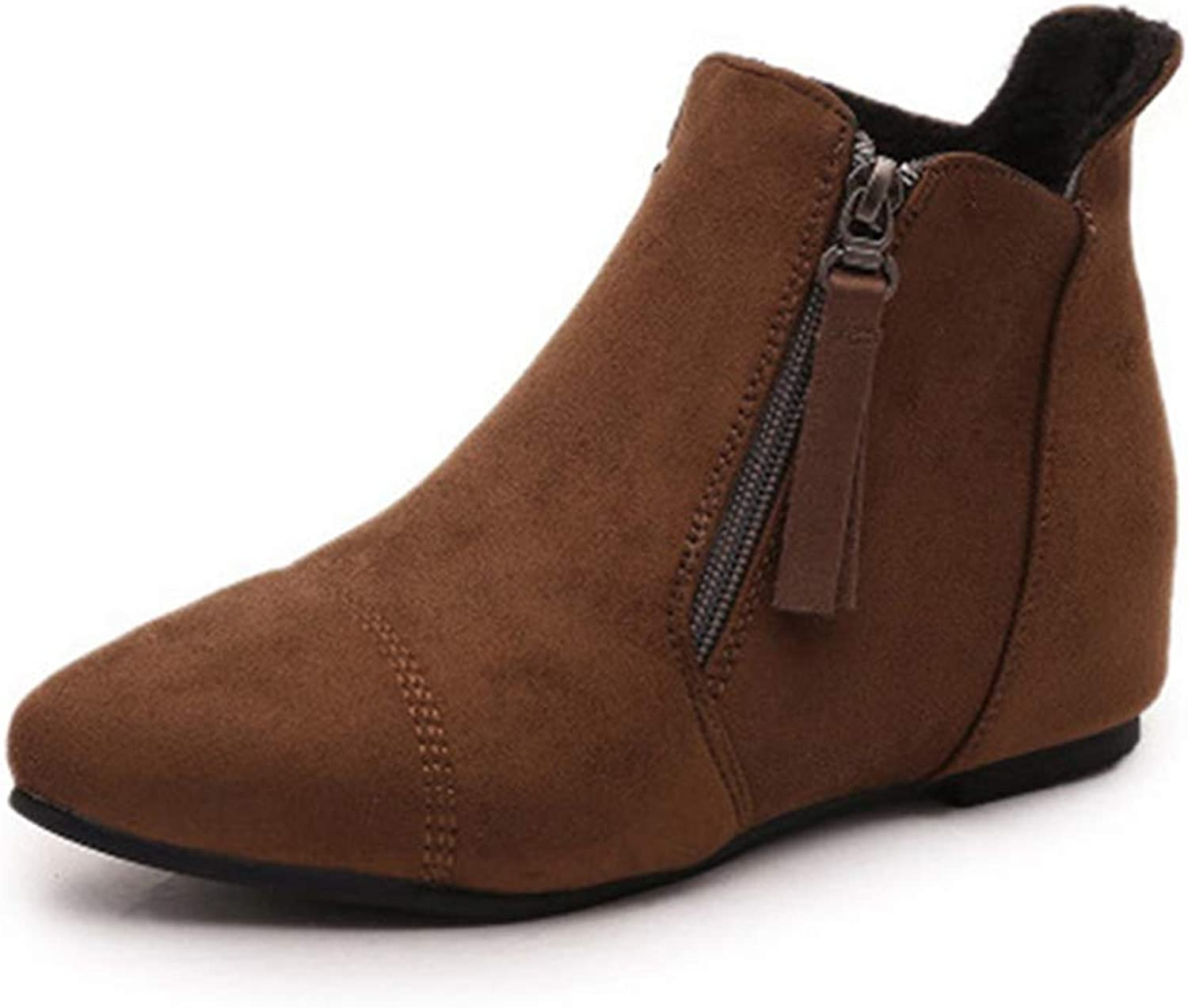 GIY Women's Pointed Toe Chelsea Ankle Boots Casual Suede Zipper Bootie Flat Low Heel Winter Short Boot