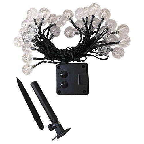 AOIWE 30 LED cadena 6,5 m al aire libre impermeable bola de cristal solar luces decorativas para jardín, patio, patio, hogar, árbol de crismas, fiestas, lámpara de modelado azul blanco cálido
