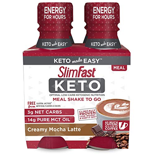 SlimFast Keto Mocha Shake - Ready to Drink Meal Replacement - 11 fl oz Bottle - 4 Count