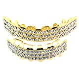 """Gold-Tone Hip Hop Removeable Mouth Grillz Set (Top & Bottom) """"Ballers Ice"""""""