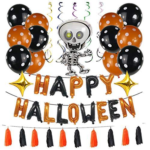 Set di 44 palloncini di Halloween con nappe a teschio, gonfiabili, decorazione per la casa