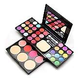 Juegos de mesa, cepillos de maquillaje de paleta de sombras, paleta de maquillaje de creación profesional - incluyendo sombra de ojos, mejillas rosadas, lápiz labial (Paleta de 39 tonos)
