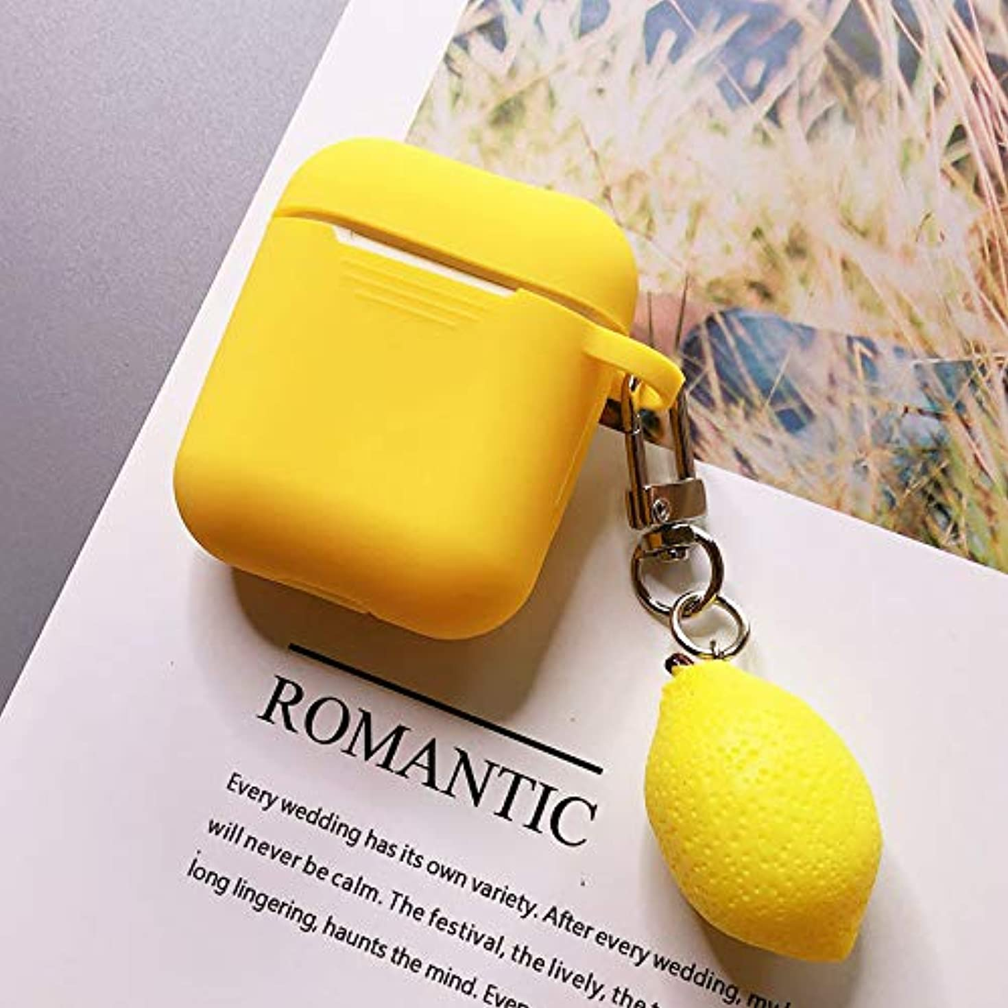 Fruit Airpods Case, Cute Cartoon Fashion Fruit Summer Pendant Soft Silicone Shockproof Protective Case Cover Skin for Apple Airpods Charging Case (Lemon)