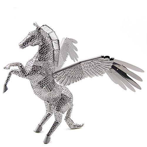 PY- FLRINGPIN Microworld 3D Metall Puzzle Pegasus, 3D Bauwerke Puzzle Geschenk für Erwachsene und Kinder,Modellbau ganz ohne KleberZ2004 (Silver)