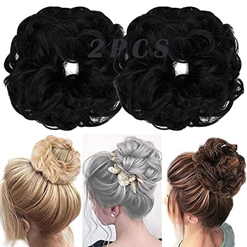 OMGREAT 2PCS 두꺼운 UPDO MESSY HAIR BUNS 컬리 웨이비 포니테일 확장 여성 걸스 컬러 다크 블랙용 주바 번 헤어 스크런치
