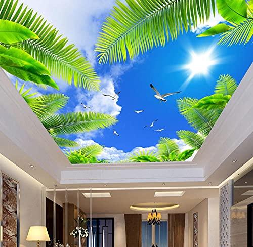 Papel Pintado Murales 3D Mural De Pared 3D Personalizado De Cualquier Tamaño, Papel Tapiz Fotográfico De Techo, Cielo Azul, Sol, Palmera, Aves Marinas, Papel De Pared Estéreo-150 * 105Cm