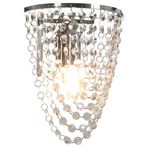 vidaXL Wandleuchte mit Kristallperlen Wohnzimmer Lampe Leuchte Kristall Wandlampe für Flur Treppe Übernachtung Silbern Oval E14-Fassung