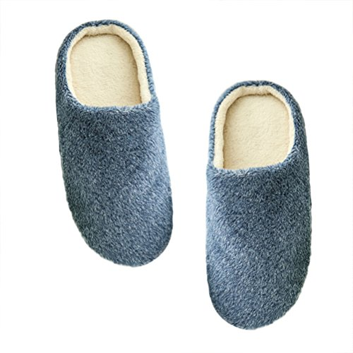 LUOEM Zapatillas de Estar por Casa Hombre Mujer Invierno Pantuflas Zapatillas Peluche Algodón Suave Azul Marino size 42-43