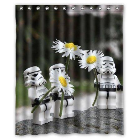 BBFhome Flower Power-Muster-Gewohnheit Lustige Sturmtruppen -Polyester-Gewebe wasserdichte Badezimmer Duschvorhang mit 12 Haken 180 x 180 cm Badezimmer-Dekor