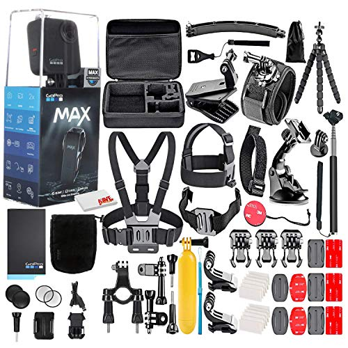 GoPro MAX 360 Waterproof Action Camera -with 50 Piece Accessory Kit - Camera W/Touch Screen - All You Need (Renewed)