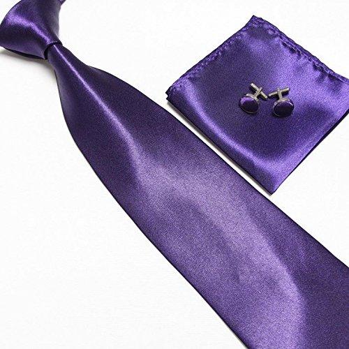 LCN Cravate + Pochette + Bouton de Manchettes Satinée - Mauve Foncé - Neuf