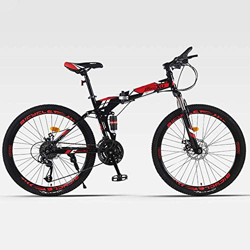 Zixin 26 Zoll Faltbare Fahrrad, Faltrad for Damen und Herren, Faltrad for Erwachsene geeignet for Männer Frauen Maximale Belastung 200 kg (Color : Red, Size : 26 inches)
