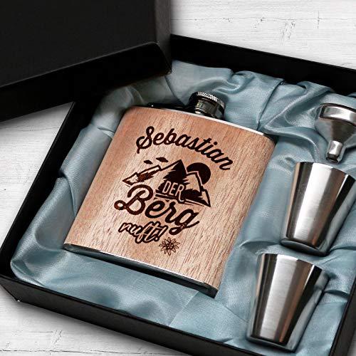 Pixelstudio Holz Flachmann mit Gravur Der Berg Ruft personalisiert mit Name Geschenkset Geschenk Männer Outdoor Wandern Bergsteiger
