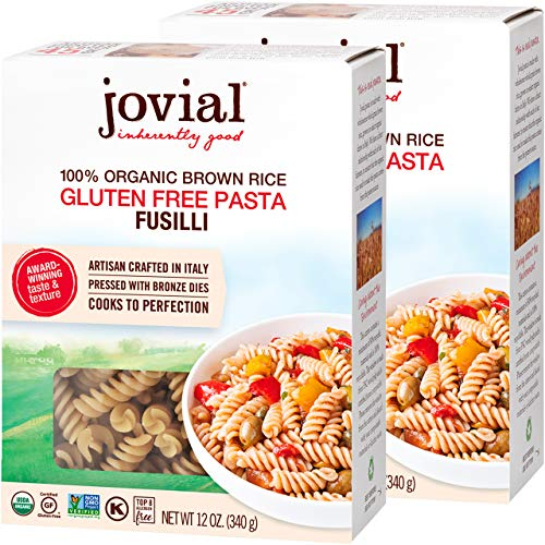 Jovial Fusilli Gluten-Free Pasta   Whole Grain Brown Rice Fusilli Pasta   Non-GMO   Lower Carb   Kosher   USDA Certified Organic   Made in Italy   12 oz (2 Pack)