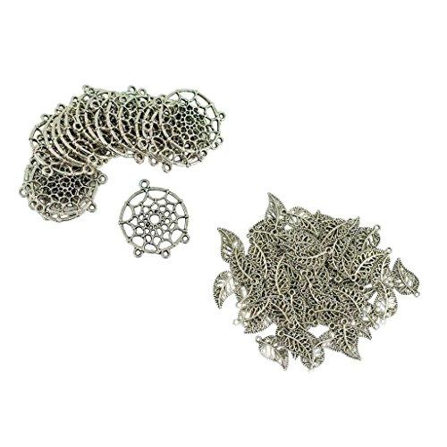 chiwanji 120pcs Dreamcatcher Charms Silver Tone Leaf Colgantes para Hacer Jelwelry