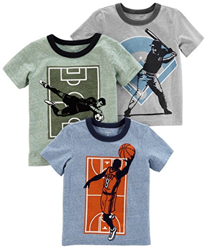 Carter's Boys' Toddler 3-Pack Short-Sleeve Graphic Tee, Multi Sports, 4T
