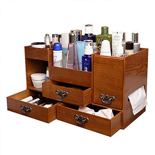 Preisvergleich Produktbild MMMP Kosmetische Aufbewahrungsbehälter-Schublade aus Holz Haushalts Dressing Desktop-Hautpflege-Aufbewahrungsbehä... (Farbe: gelb,  Größe: 44.3x19x24CM)