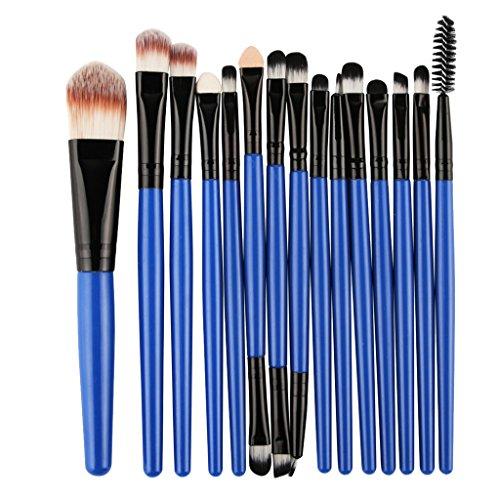 MagiDeal Lot 15pcs Brosse de Maquillage Professionnelles pour Fond de Teint Ombre à Paupières Pinceaux Cosmétique Mélangeur Poudre de Fondation Eyeliner Highlight Anti-Cernes Anti-tâches - Bleu Noir