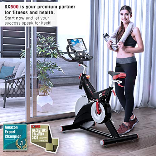Sportstech Professional Indoor Cycling Exercise Bike SX500 -German Quality Brand- Video Events & Multiplayer APP, 25KG Flywheel, pulse belt compatible Speedbike Studio Quality, SPD Clicksystem, eBook