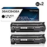 2 Pack Black 36A | CB436A Compatible Toner Cartridge Replacement for HP Laserjet M1522n MFP M1523nf MF M1120 MFP P1505 P150n Printers Toner Cartridge.